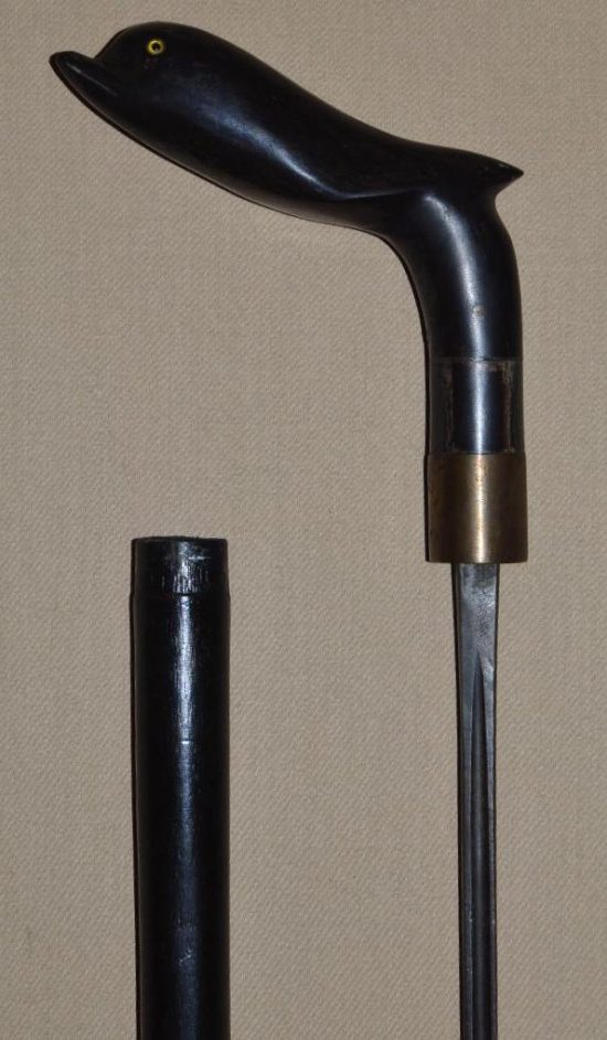 Ebony Dolphin Head Sword Cane from Asia
