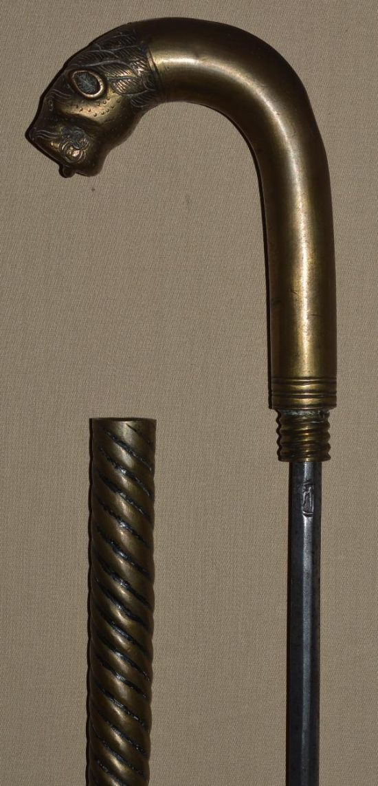 Brass Lion Head Sword Cane from India