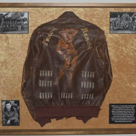 Historic Identified WWII Painted Leather A-2 Bomber Jacket Display