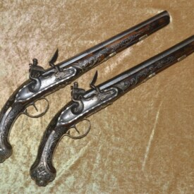 Fabulous Pair of Silver-Mounted Flintlock Pistols Made for an Ottoman Potentate